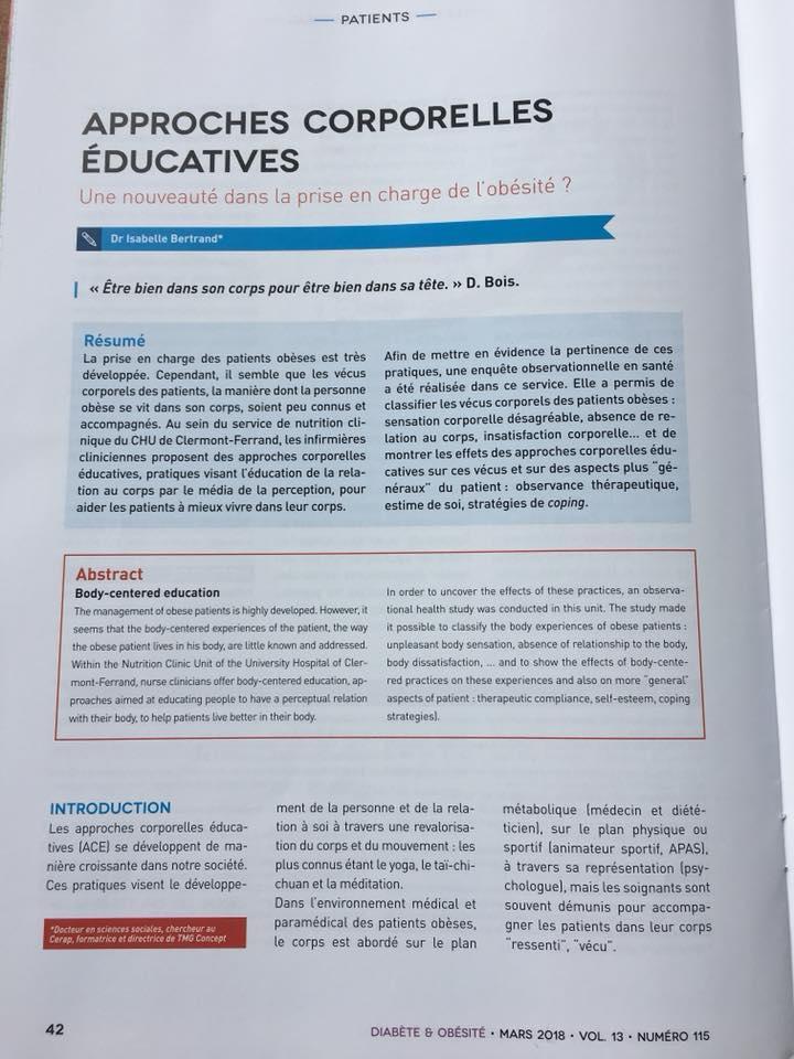 """PUBLICATION DANS LA REVUE """"DIABÈTE ET OBÉSITÉ"""""""